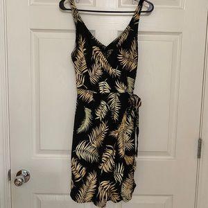 H&M palm print wrap dress